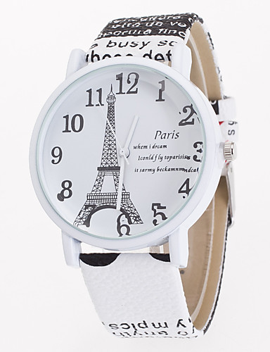 5c88cc6b38f Mulheres senhoras Relógio de Pulso Quartzo Couro Branco   Azul   Marrom  Relógio Casual Analógico Flor Torre Eiffel Fashion - Castanho Claro  Castanho Escuro ...