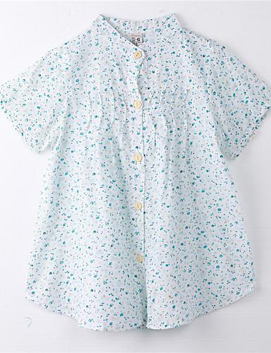 Mädchen T-Shirt Baumwolle Sommer Kurzarm Blumig Blau