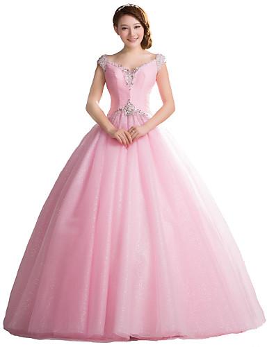 Ballkleid V-Ausschnitt Boden-Länge Tüll Formeller Abend Kleid mit Kristall Verzierung durch / Vintage Inspirationen