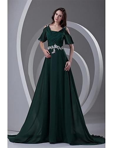 A-Linie Riemen Hof Schleppe Chiffon Formeller Abend Kleid mit Perlenstickerei Applikationen Plissee durch TS Couture®