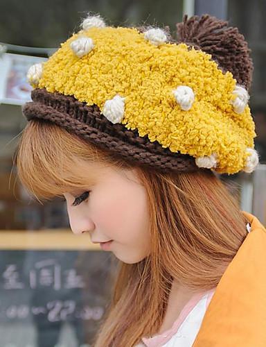 27d5981d18c Γυναικεία Πουά Βίντατζ Πλεκτά Καπέλο σκι Φθινόπωρο Χειμώνας Μπεζ Κίτρινο  Ροζ / Καπέλο & Σκούφος