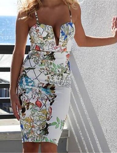 Moulante Robe Sortie simple,Imprimé A Bretelles Au dessus du genou Sans Manches Blanc Nylon Automne Taille Haute