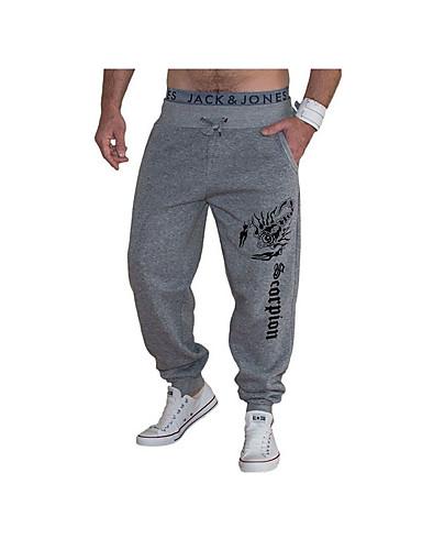 Masculino Activo Cintura Média Micro-Elástica Activo Largo Calças Esportivas Calças,Estampado Letra Algodão Todas as Estações