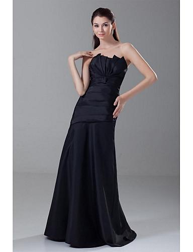 גזרת A סטרפלס עד הריצפה טפטה ערב רישמי שמלה עם קפלים על ידי LAN TING Express