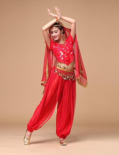 voordelige Shall We®-Buikdans Outfits Dames Prestatie Chiffon Pailletten Korte Mouw Natuurlijk Top / Broeken / Riem