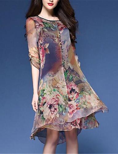 Mujer Tallas Grandes Tejido Oriental Corte Ancho / Gasa Vestido - Estampado, Floral Hasta la Rodilla