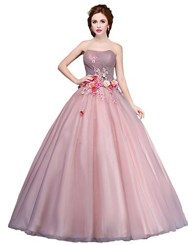 Ballkleid Prinzessin Trägerlos Boden-Länge Tüll Formeller Abend Kleid mit Blume durch SG