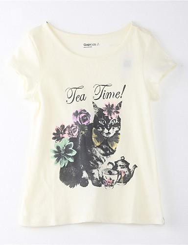 Mädchen T-Shirt Baumwolle Sommer Kurzarm Zeichentrick Gelb