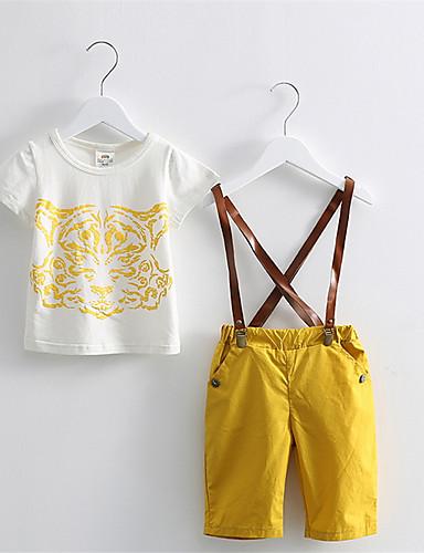 סט של בגדים כותנה אביב קיץ סתיו כל העונות שרוול קצר יום יומי\קז'ואל דפוס בנים פסים צהוב כחול