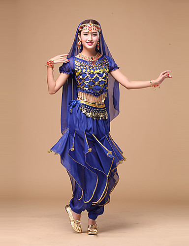 5cb88a4782 Belly Dance Outfits Women s Performance Chiffon Sequin Short Sleeves  Natural Top   Pants   Belt