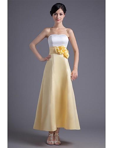 Linha A Sem Alças Até o Tornozelo Cetim Color Block Baile de Formatura / Evento Formal Vestido com Flor / Pregas de TS Couture®