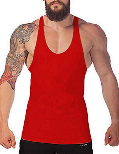 voordelige Heren T-shirts & tanktops-Heren Actief Standaard Grote maten - Singlet Sport Effen Ronde hals Slank Grijs / Mouwloos / Zomer