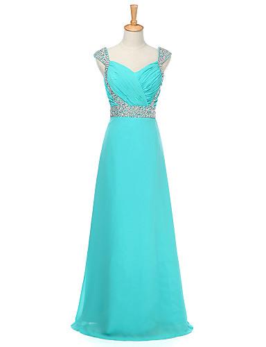a-linje kjære gulvlengde chiffon brudepike kjole med beading av weishang