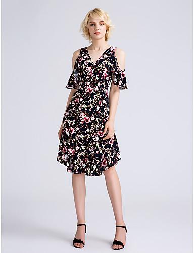 גזרת A צווארון וי באורך  הברך שיפון שמלה לשושבינה  עם דוגמא \ הדפס על ידי LAN TING BRIDE®