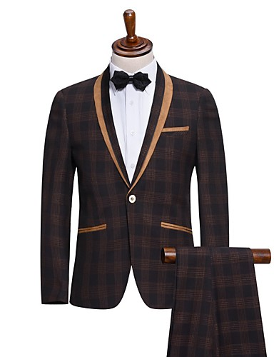 חליפות גזרה צרה צווארון צעיף (שאל) Single Breasted One-button ויסקוזה משובץ שני חלקים דש ישר ללא (חלק קדמי שטוח) אפור ללא (חלק קדמי שטוח)