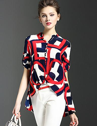 レディース お出かけ 夏 シャツ,ストリートファッション Vネック プリント シルク 半袖 薄手