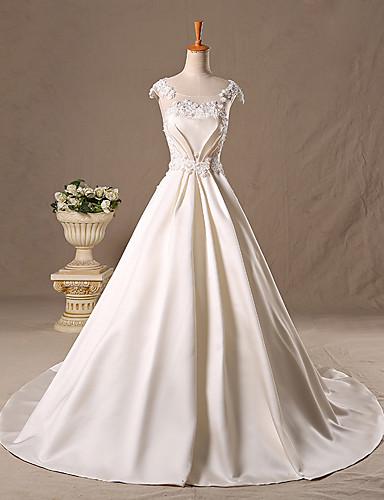 נסיכה שובל סוויפ \ בראש סאטן טול שמלת חתונה עם חרוזים תחרה על ידי