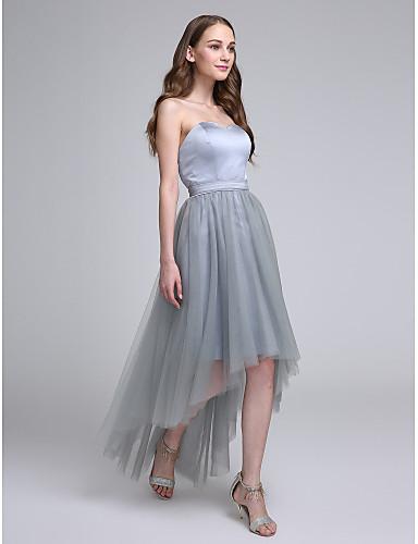 5c764722c7 Corte en A Escote Corazón Asimétrica Satén   Tul Vestido de Dama de Honor  con Cinta