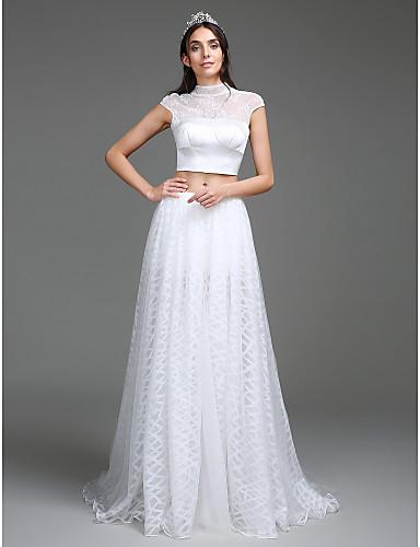 Linha A Gola Alta Cauda Escova Renda Organza Cetim Vestido de casamento com Botão Com Fenda de LAN TING BRIDE®