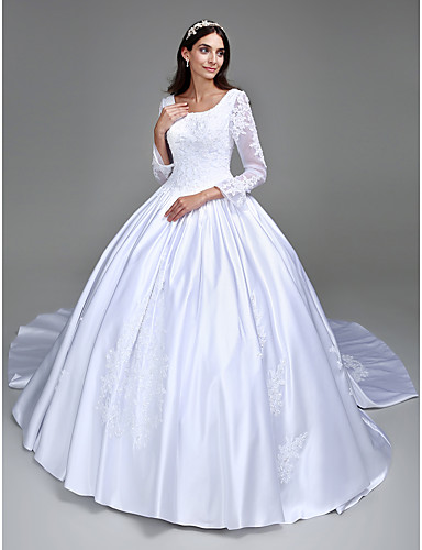 510c549b cheap Wedding Dresses-Ball Gown Scoop Neck Cathedral Train Satin  Made-To-Measure