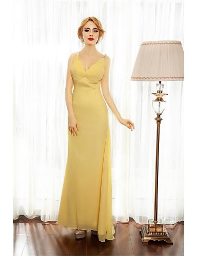 A-line Spaghetti-Riemen Boden Länge Chiffon Prom formalen Abendkleid mit Perlen Seite drapieren