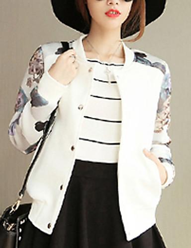 פרחוני צווארון עגול סגנון רחוב יום יומי\קז'ואל ז'קט נשים,אביב / סתיו שרוול ארוך לבן / שחור דק כותנה