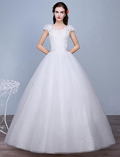 Trapèze Col en V Longueur Sol Dentelle Tulle Robe de mariée avec Dentelle par