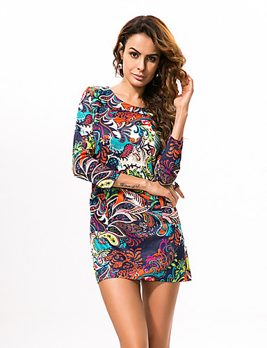 Femme Grandes Tailles Gaine Robe Fleur Mini