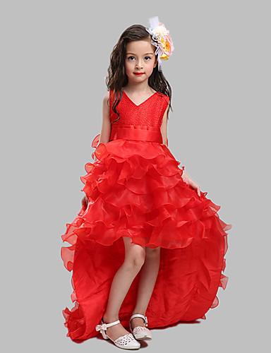 כדור ג 'ונג רכבת הרכבת פרח ילדה שמלה - כותנה אורגנזה סאטן שרוולים V- צוואר על ידי lovelybees