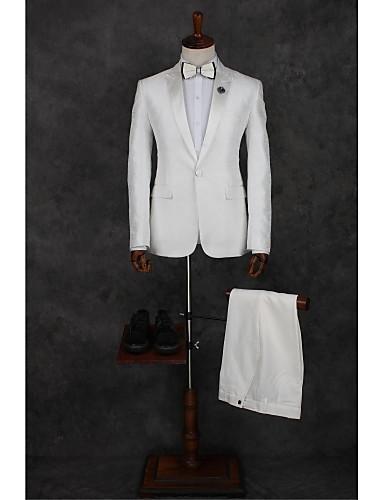 白 仕様 テイラーフィット ポリエステル スーツ - ピークドラペル シングルブレスト 一つボタン