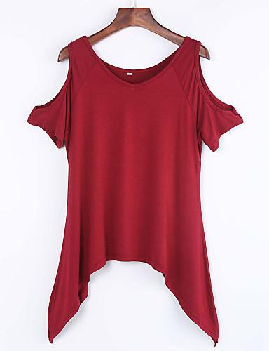 Rozmiar plus T-shirt Damskie Falbany Jendolity kolor Bawełna