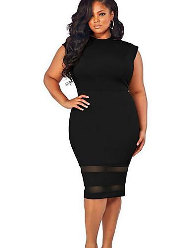 62ae7180c1a Γυναικεία Μεγάλα Μεγέθη Εξόδου Θήκη Φόρεμα - Μονόχρωμο Ως το Γόνατο Άσπρο /  Λεπτό