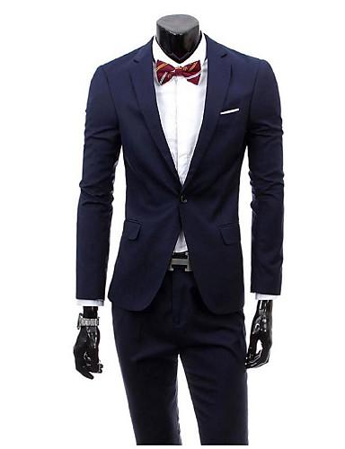 ダークグレー バーガンディー ブラック ネービーブルー パープル 純色 スリムフィット ビスコース スーツ - ノッチドラペル シングルブレスト 一つボタン
