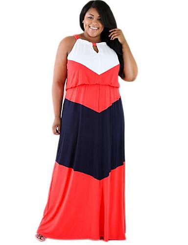Damen Hülle Kleid-Ausgehen / Übergröße Einfach Einfarbig Rundhalsausschnitt Maxi Ärmellos Rot Polyester Sommer