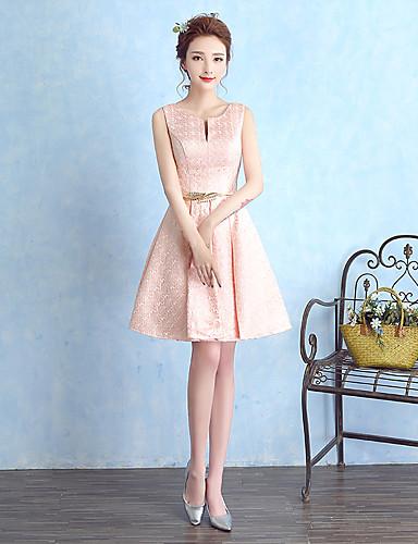נרתיק / טור מחורצת קצר / מיני satin שמלת שושבינה עם קפלים על ידי tianyu