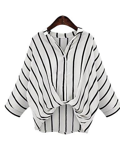 Lin Skjortekrage Store størrelser Bluse - Stripet Dame