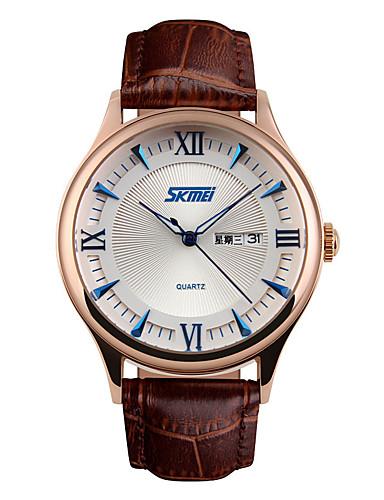 SKMEI Homens Relógio Elegante Relógio de Moda Quartzo Calendário Impermeável Couro Banda Luxo Legal Preta Marrom