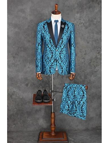 Azul Océano Patrón A Medida Poliéster Traje - Pico Recto 1 botón / Diseño / Estampado / trajes
