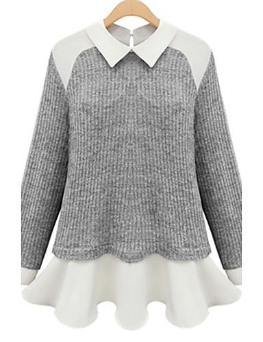 Damen Standard Strickjacke-Lässig/Alltäglich Einfach Patchwork Hemdkragen Langarm Acryl Herbst Mittel Mikro-elastisch