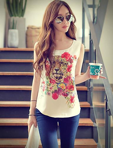 Pink Doll® Dame Rund hals Ermeløs Skjorte og bluse Ivory-X15BST005