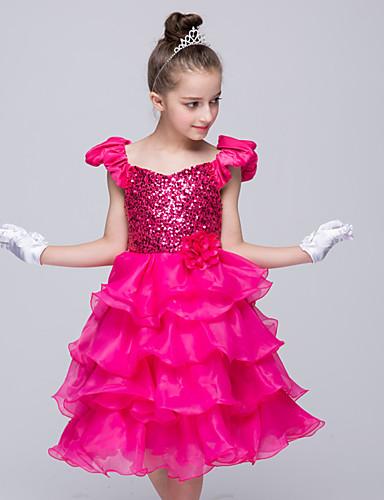 שמלה ליציאה אחיד פוליאסטר קיץ אדום הילדה של