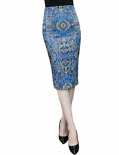 Femme Grandes Tailles Jupes ImpriméTaille Haute Genou Sortie Coton fermeture Éclair Micro-élastique Eté