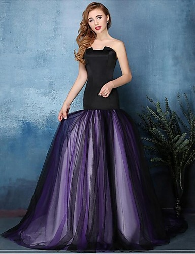 en forme& Flare entaillée balayage / pinceau tulle robe de soirée formelle avec plis