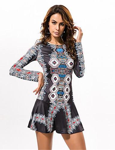 En couleur Femme Col Arrondi Manche Longues Genou Robes-533762237996