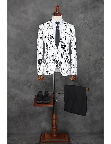 Weiß Muster Reguläre Passform Polyester Anzug - Fallendes Revers Einreiher - 1 Knopf