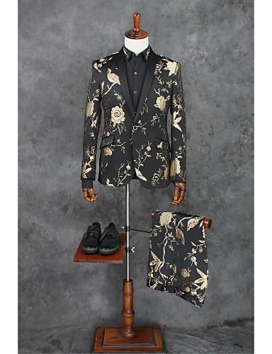 Schwarz Muster Reguläre Passform Polyester Anzug - Schalrevers Einreiher - 1 Knopf