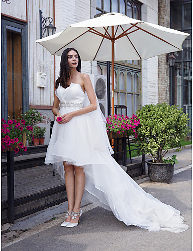 A-Line Sweetheart Neckline Asymmetrical Organza Made-To-Measure Wedding Dresses with Crystal by LAN TING BRIDE® / Little White Dress