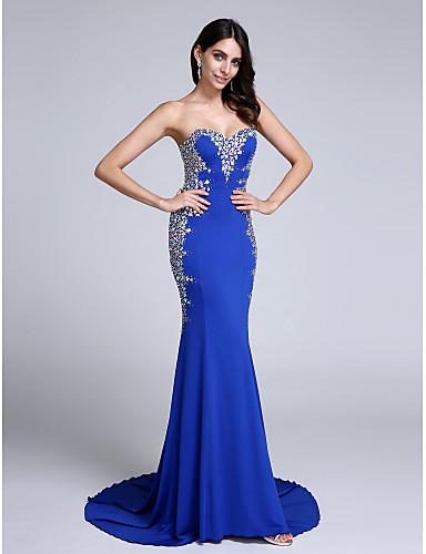בתולת ים \ חצוצרה לב (סוויטהארט) שובל קורט ג'רסי ערב רישמי שמלה עם פרטים מקריסטל על ידי TS Couture®