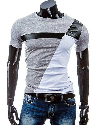 12778c7bef6f Ανδρικά T-shirt Αθλητικά Βαμβάκι Συνδυασμός Χρωμάτων Στρογγυλή Λαιμόκοψη  Λεπτό Patchwork Ασπρόμαυρο Λευκό L   Κοντομάνικο   Καλοκαίρι