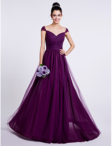 A-Line Sweetheart Sweep / Brush Train Tulle Bridesmaid Dress with Draping Ruched by LAN TING BRIDE®